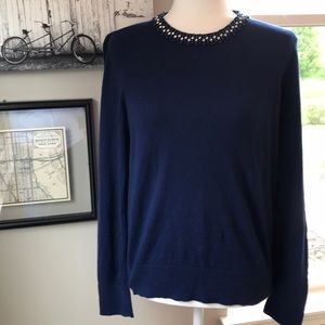 Ann Taylor Navy Sweater w/ jeweled accents!!